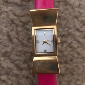 Kate spade pink band gold bow watch